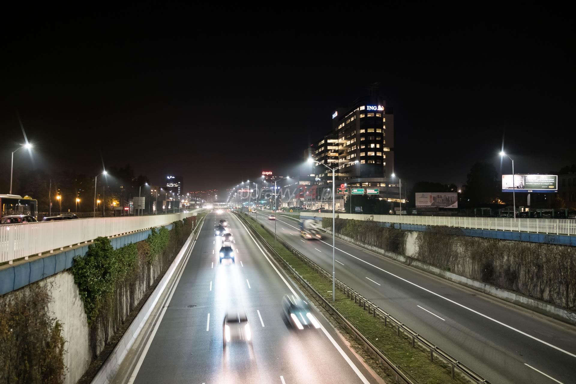 Katowicki odcinek DTŚ w świetle LED